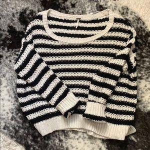 Free People Black & White Knit Sweater